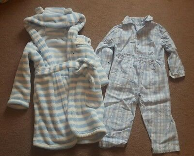 Baby Boys Blue And White Dressing Gown & Pyjamas Age 18-24 Months George/Nutmeg