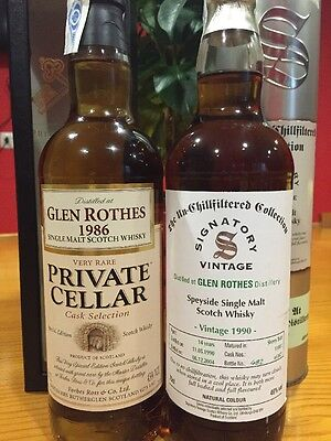 1+1 Whisky GlenRothes Signatory Vintage 1990 14y +1986 Glenrothes Private Cellar