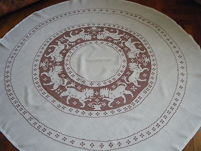 Old vtg Tablecloth linen Heraldic Passan Lions Assisi HAND Embroidered Italy.