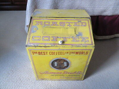 SHERMAN BROS and CO., Chicago, IL Illinois General Store coffee Tin Bin Display