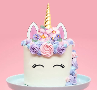 Large Unicorn Gold Horn Pink Flowers Edible Cake Topper Decoration PRE-CUT  #147