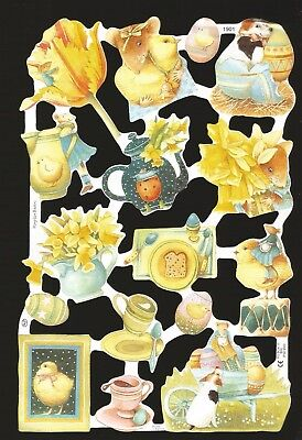 Die Cut Scrap Mamelok English - Easter Eggs, Chicks & More Animals   1901