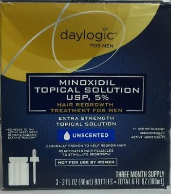 Daylogic Hair Regrowth Treatment For Men 5% Minoxidil 3 Month Supply Exp 07/2018
