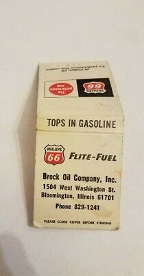 Phillips 66 oil matchbook COVER ONLY Flite Fuel Brock Oil Bloomington IL