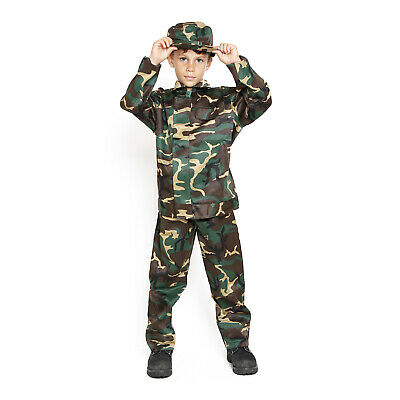 Kids Childrens Boys US Army USMC Soldier Jumpsuit Forest Camo Halloween Costume