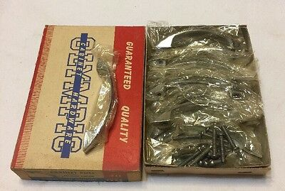 Box Of 12 NOS Vintage Olympic Cabinet Handles Pulls No. 711 Polished Chrome