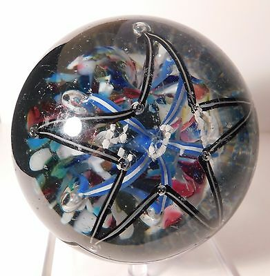 """DAZZLING and HUGE Antique AMERICAN INITIALS """" H.J.D."""" Frit Art Glass Paperweight"""
