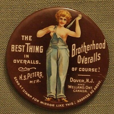 """Fantastic """"brotherhood Overalls"""" Advertising Pocket Mirror Great Graphic Risque"""