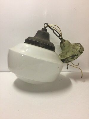 Antique School House Globe Hanging Light Fixture Free US Shipping