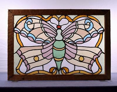 Antique Stained Leaded Glass Window/Panel with a Butterfly