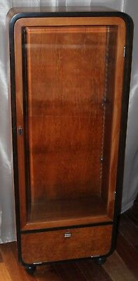 Art Deco Burlwood Accent Waterfall Display Cabinet w/ Storage & Ebony Ball Feet