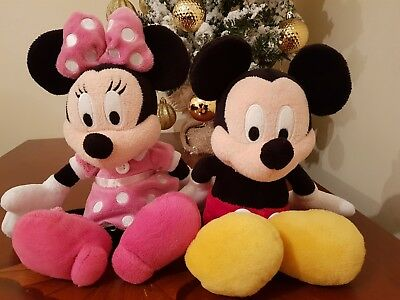 Disney Original Minnie mouse and Mickey mouse soft toys stamped, bundle plush