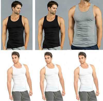 2a61f74bb23f26 3 6 12 Mens 100% Cotton Ribbed A-Shirts Undershirts Wife Beater Tank ...