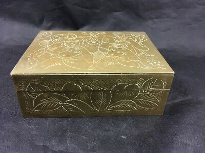 Vintage Chinese Brass Trinket Box Jewelry Case Hand Engraved Chinese Figures