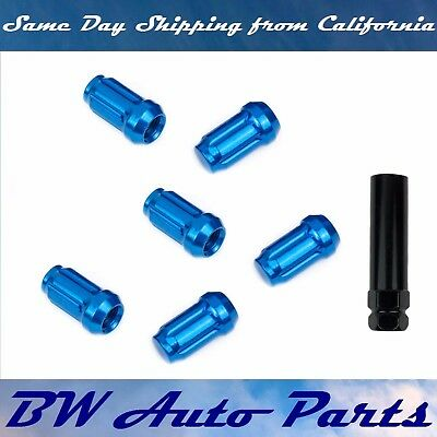 6 PCs Blue Spline Lug Nuts with Key M12x1.5 Cone Seat Long Closed End