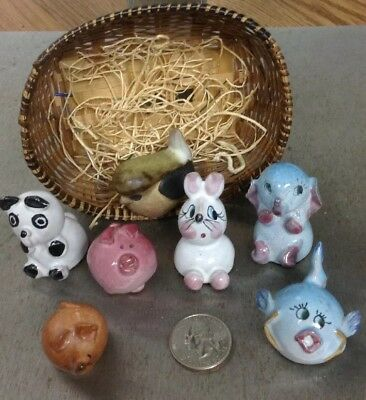 7 Pc Lot Collection Small Miniature animals ceramic/pottery? W/basket cute VGC.