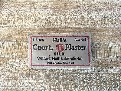 VINTAGE ANTIQUE HALL'S COURT PLASTER SILK ADVERTISING ENVELOPE w/ 2 PIECES VC