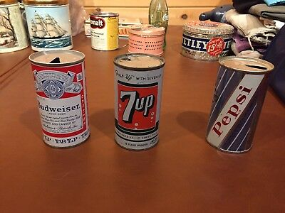 Vintage Beverage Cans: Bud, Pepsi, 7Up, steel, circa 1960, free shipping.