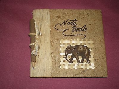 Hand made recycled paper mini notebook Elephant design with pencil in EC