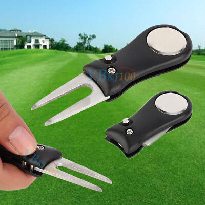 Black Pitch Repair Divot Switchblade Golf Ball Marker Mark Kit Groove Cleaner