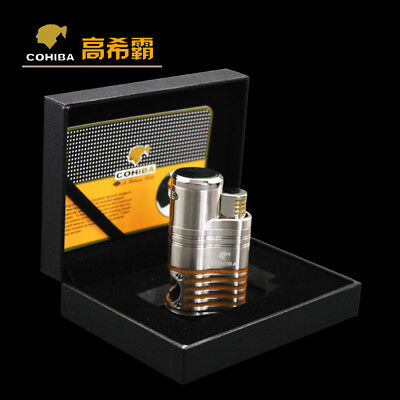 COHIBA Metal Silver Cigar Lighter 4 Torch Jet Flame With Cigar Punch