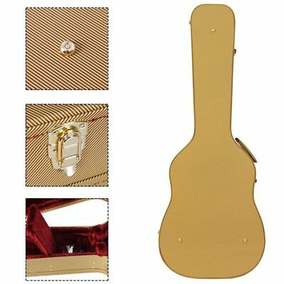 """Waterproof Guitar Box for 41"""" Guitar Hard Wood Box with Yellow Oblique Fringe C#"""