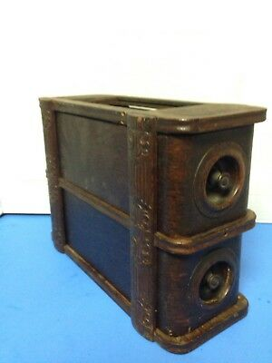Antique Wood Shabby Chic Treadle Sewing Machine Cabinet 2 Drawer w/ Frame Ornate
