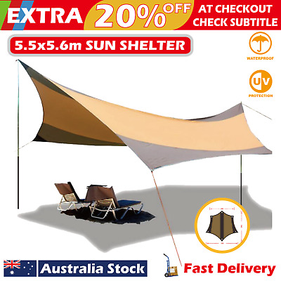 5.5x5.6m Sun Sail Shade Shelter Canopy Multiuse Camp Picnic Party Beach Tent