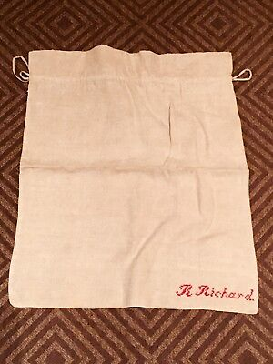 "19c Antique RED EMBROIDERY HOMESPUN LINEN RUSTIC FEED SACK GRAIN BAG 24"" By 20"""