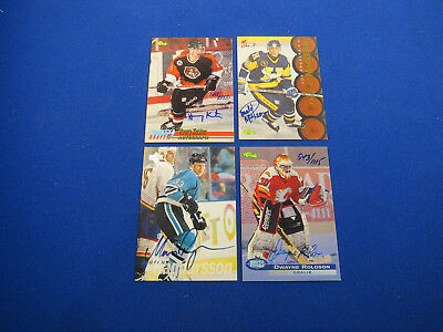 Lot of 4 Different Certified Autograph Hockey Cards - Signed on Card