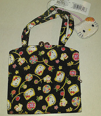 Authentic Sanrio HELLO KITTY Chirimen Crepe Regional Clutch purse  NWT 2001JAPAN