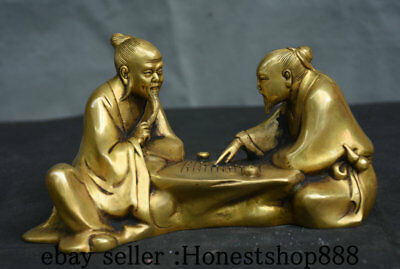 "8"" Collect Rare Chinese Copper Dynasty Two Old Man Play Chess Statue Sculpture"