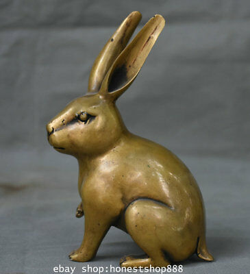 "6.8"" Old Chinese Copper Feng Shui Zodiac Year lovable Rabbit Sculpture Statue"