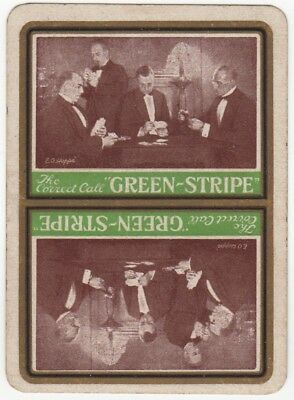 Playing Cards Single Swap Card Old Antique Wide GREEN STRIPE Whisky HOPPE Art 1