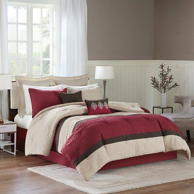 Avenue 8 - Chester Comforter Set - 8 Piece - Red, Beige, Brown - Solid Pattern -