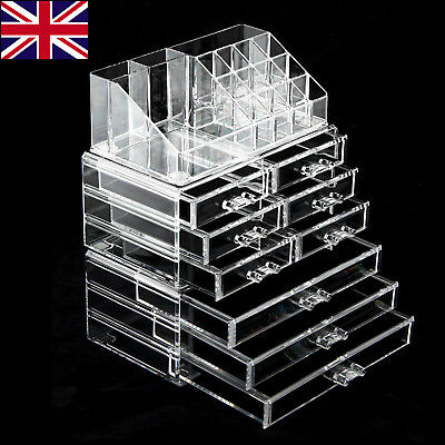 9 Drawer Cosmetic Organizer Clear Acrylic Makeup Case Jewelry Holder Box Storage
