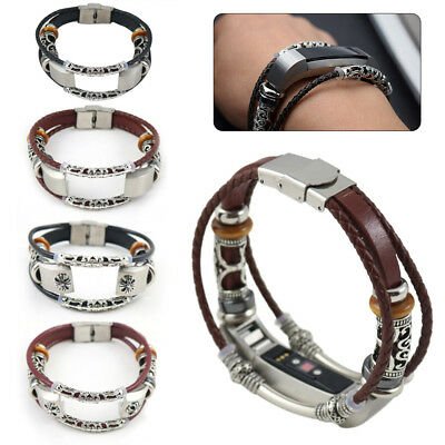 Retro Metal Leather Wristband Band Strap Replacement For Fitbit Alta/ HR Watch
