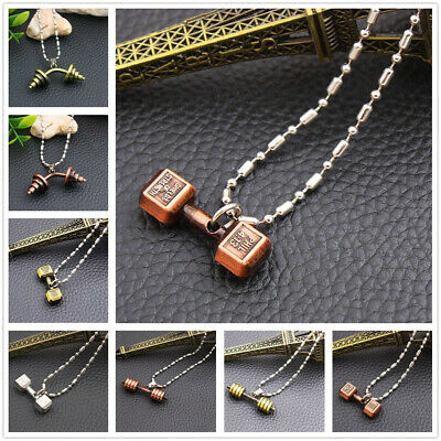 Charm Men Titanium Steel Barbell Dumbbell Pendant Necklace Chain Gym Sports