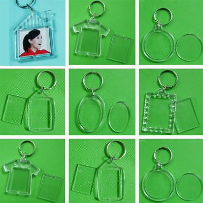 2~10x Transparent Shaped Blank Plastic Insert Photo Frame Key Ring Keychain Gift