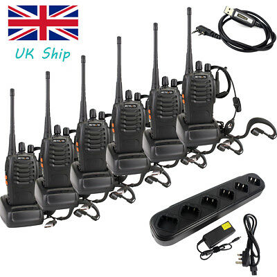 6x Portable Walkie Talkies Retevis H777 UHF400-470MHz 16CH+Six-Way Charger+Cable