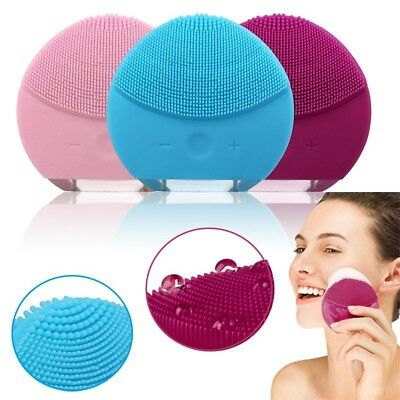 Silicone Electric Facial Cleansing Brush Face Skin Cleanser Care Rechargeable