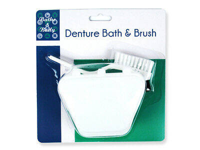 DENTURE BATH RETAINER AND BRUSH CLEAN HYGIENE PROTECT WASH KIT x 2