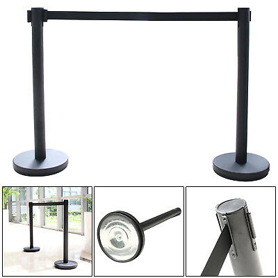 2x Black Stainless Steel Queue Rope Barrier Posts Stand Crowd Control - 2M Belts