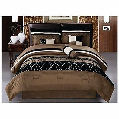Luxlen 7 Piece Embroidered Comforter Set, King, Closeout