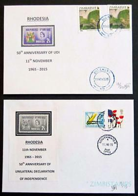 RHODESIA / ZIMBABWE 2015 50th ANN. OF UDI 2 LIMITED EDITION COVERS **SEE SCANS**