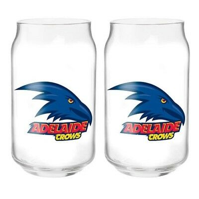 Adelaide Crows Official AFL 2 Can Shaped Glasses, Gift Boxed