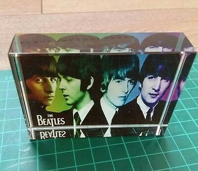 Rare crystal memorabilia of The Beatles 8cm by 6cm ideal gift or collectable