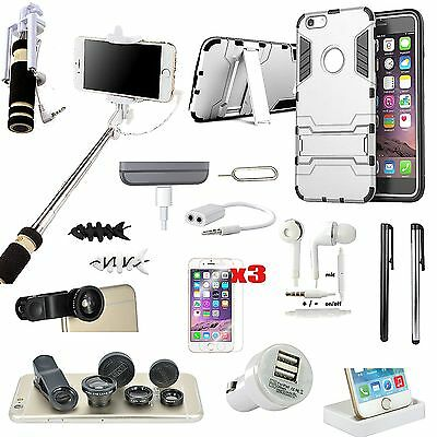 16 PCS Case Cover Charger Fish Eye Monopod Accessory Bundle For iPhone 6 6S Plus
