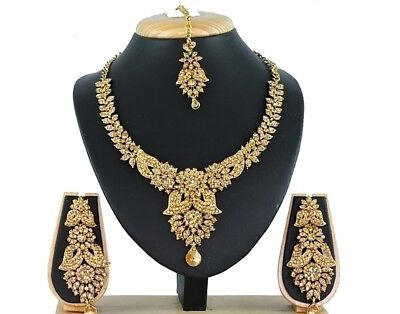 Statement Bridal Necklace Earrings Set Designer Indian Fashion Wedding Jewelry
