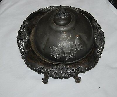 Antique Victorian Middletown silverplate butter dish